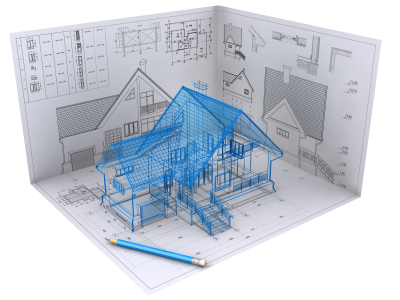 3D isometric view the residential house on architect's drawing. Background image is my own.